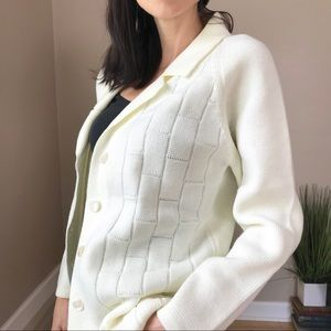 Vintage 60's Cream Woven Grandpa Cardigan Sweater